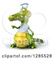 Clipart Of A 3d Sailor Crocodile Pointing To The Left Royalty Free Illustration