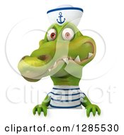 Clipart Of A 3d Sailor Crocodile Smiling Over A Sign Royalty Free Illustration