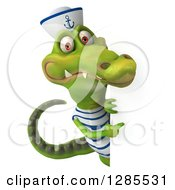 Clipart Of A 3d Sailor Crocodile Pointing Around A Sign Royalty Free Illustration