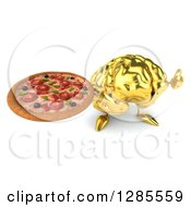 Clipart Of A 3d Gold Brain Character Holding Up A Thumb And A Pizza Royalty Free Illustration