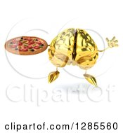 Clipart Of A 3d Gold Brain Character Jumping And Holding A Pizza Royalty Free Illustration