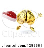 Clipart Of A 3d Gold Brain Character Jumping And Holding A Beef Steak Royalty Free Illustration