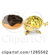 Clipart Of A 3d Gold Brain Character Holding Up A Chocolate Frosted Donut And A Thumb Down Royalty Free Illustration