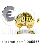 Clipart Of A 3d Gold Brain Character Holding A Euro Currency Symbol And Thumb Up Royalty Free Illustration