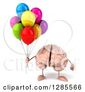 Clipart Of A 3d Brain Character Holding Party Balloons Royalty Free Illustration