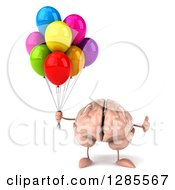 Clipart Of A 3d Brain Character Holding A Thumb Up And Party Balloons Royalty Free Illustration