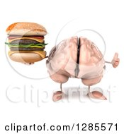 Clipart Of A 3d Brain Character Holding A Thumb Up And A Double Cheeseburger Royalty Free Illustration