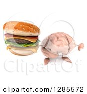 Clipart Of A 3d Brain Character Holding Up A Double Cheeseburger And Thumb Down Royalty Free Illustration