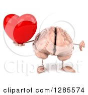 Clipart Of A 3d Brain Character Holding A Thumb Down And A Heart Royalty Free Illustration