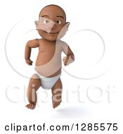 Clipart Of A 3d Black Baby Boy Running Forward Royalty Free Illustration