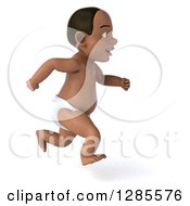 Clipart Of A 3d Black Baby Boy Running To The Right Royalty Free Illustration