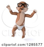 Clipart Of A 3d Bespectacled Black Baby Boy Jumping Royalty Free Illustration