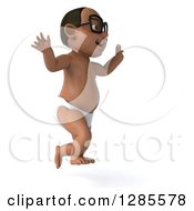 Clipart Of A 3d Bespectacled Black Baby Boy Facing Right And Jumping Royalty Free Illustration