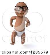 Clipart Of A 3d Bespectacled Black Baby Boy Running Forward Royalty Free Illustration