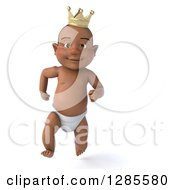 Clipart Of A 3d Black Baby Boy Wearing A Crown And Running Royalty Free Illustration