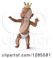 Clipart Of A 3d Upset Black Baby Boy Wearing A Crown And Walking Royalty Free Illustration