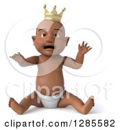 Clipart Of A 3d Upset Black Baby Boy Wearing A Crown And Sitting Royalty Free Illustration