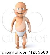 Clipart Of A 3d Happy White Baby Boy Standing Royalty Free Illustration