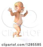 Clipart Of A 3d Happy Blond White Baby Boy Facing Right And Jumping Royalty Free Illustration