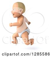 Clipart Of A 3d Blond White Baby Boy Facing Left And Running Royalty Free Illustration