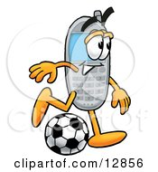 Clipart Picture Of A Wireless Cellular Telephone Mascot Cartoon Character Kicking A Soccer Ball by Toons4Biz