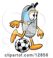 Wireless Cellular Telephone Mascot Cartoon Character Kicking A Soccer Ball
