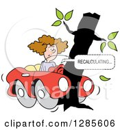 Clipart Of A Brunette White Woman With Her Car Wrapped Around A Tree And GPS Navigation Recalculating Royalty Free Vector Illustration