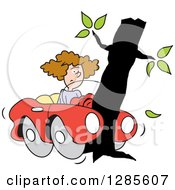 Clipart Of A Brunette White Woman With Her Convertible Car Wrapped Around A Tree Royalty Free Vector Illustration