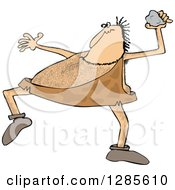 Clipart Cartoon Of A Hairy Caveman Throwing A Rock Royalty Free Vector Illustration