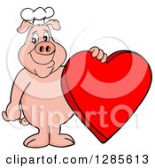 Happy Chef Pig Standing And Holding A Red Valentine Heart
