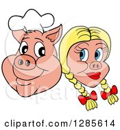 Cartoon Clipart Of A Grinning Chef Pig Face And Blond Haired Girlfriend Royalty Free Vector Illustration by LaffToon