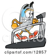 Wireless Cellular Telephone Mascot Cartoon Character Walking On A Treadmill In A Fitness Gym