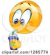 Clipart Of A Yellow Smiley Face Emoticon Drinking A Fountain Soda Or Slushee Royalty Free Vector Illustration