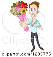 Smitten Caucasian Man Holding Up A Bouquet Of Flowers