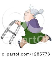 Clipart Of A Caucasian Senior Granny Woman Running With A Walker Royalty Free Vector Illustration