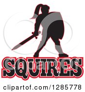 Clipart Of A Black Silhouetted Knight With A Sword And Shield Over Squires Text With A Red Outline Royalty Free Vector Illustration