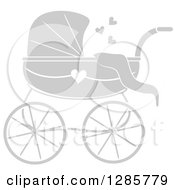 Clipart Of A Gray Baby Carriage With Hearts And A White Outline Royalty Free Vector Illustration