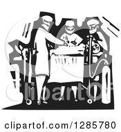 Clipart Of A Black And White Woodcut Team Of Surgeons Operating On A Patient Royalty Free Vector Illustration