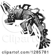 Clipart Of A Black And White Woodcut Steagosaur Skeleton Royalty Free Vector Illustration