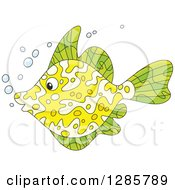 Clipart Of A Green And Yellow Marine Fish Royalty Free Vector Illustration