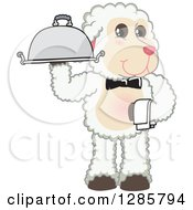 Clipart Of A Happy Lamb Mascot Character Waiter Holding A Cloche Platter Royalty Free Vector Illustration
