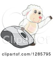 Clipart Of A Happy Lamb Mascot Character Waving By A Giant Computer Mouse Royalty Free Vector Illustration