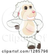 Clipart Of A Happy Lamb Mascot Character Leaning Royalty Free Vector Illustration