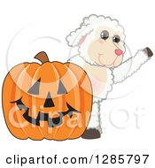 Clipart Of A Happy Lamb Mascot Character Waving By A Giant Halloween Jackolantern Pumpkin Royalty Free Vector Illustration