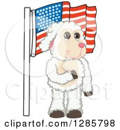 Clipart Of A Happy Lamb Mascot Character Pledging Allegiance To An American Flag Royalty Free Vector Illustration