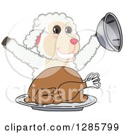 Clipart Of A Happy Lamb Mascot Character Serving A Roasted Thanksgiving Turkey Royalty Free Vector Illustration