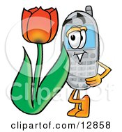 Wireless Cellular Telephone Mascot Cartoon Character With A Red Tulip Flower In The Spring