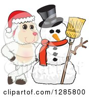 Clipart Of A Happy Christmas Lamb Mascot Character With A Winter Snowman Royalty Free Vector Illustration