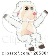 Clipart Of A Happy Lamb Mascot Character Jumping Royalty Free Vector Illustration