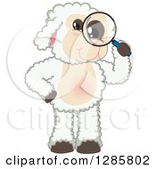 Clipart Of A Happy Lamb Mascot Character Looking Through A Magnifying Glass Royalty Free Vector Illustration
